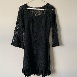 Knit Dress over Black Spaghetti Strap Slip Dress